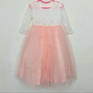 Lace V Back Straight Tutu Tulle Maxi Dress Size 4T